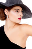 Glamour woman with black hat and red lips Royalty Free Stock Photo