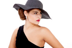 Glamour woman with black hat and red lips Stock Images