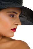 Glamour woman with black hat and red lips Stock Image