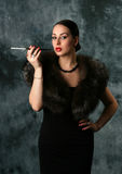 Glamour Woman with cigarette Royalty Free Stock Images