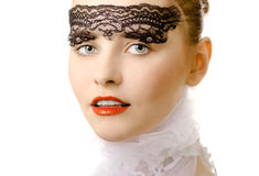 Glamour woman closeup air portrait Royalty Free Stock Image