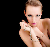Glamour woman face, jewelry, beauty fashion model Stock Photo