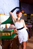 Glamour Woman In Vintage Hall Interior Royalty Free Stock Image