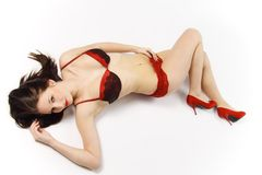 Glamour woman in red lingerie Stock Images