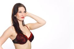 Glamour woman in red lingerie Stock Image
