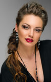 Glamour woman with red lips Royalty Free Stock Image