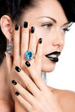 Glamour woman's nails , lips and eyes painted color black. Royalty Free Stock Images