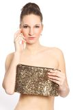 Glamour woman with womens handbag Royalty Free Stock Image