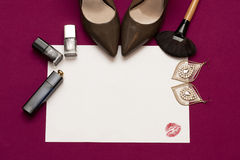 Glamour women cosmetic background in pink colour. Royalty Free Stock Images