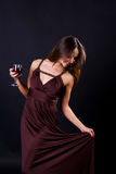 Glamour women with the whine Royalty Free Stock Photography