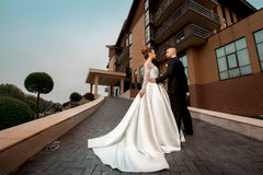 Glamour young just married couple in wedding suits Royalty Free Stock Photos