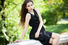 Glamour young woman outdoors Stock Photo