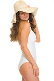 Glamour young woman in swimsuit and hat Stock Photo