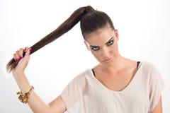 Glamourkvinna med modeögonsmink Royaltyfri Bild