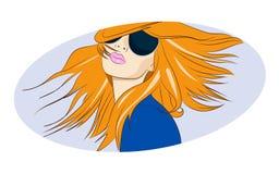 Glamourmeisje in zonnebril en kapsel Stock Afbeelding