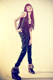 Glamourous brunette on light background retro Royalty Free Stock Image