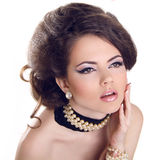 Glamourous closeup female portrait. Fashion evening elegance eye Stock Photo