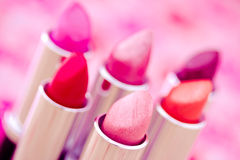 Glamourous lipsticks in vivid colors. Collection of different lipsticks colors Stock Images