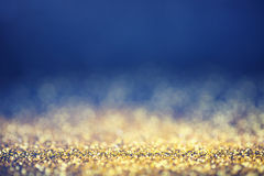 Glamourous luxury golden and blue bokeh background Royalty Free Stock Photography