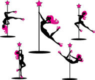Glamourous pole dancers. Vector illustration of pole dancers silhouettes in different poses Stock Photography