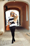 Glamourous portrait of the young beautiful woman in sunglasses. Glamourous portrait of the young beautiful blonde woman in sunglasses Royalty Free Stock Photography