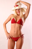 Glamourous in Red Bikini Stock Photo