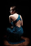 Glamourous woman. Posing in blue sparkly dress stock photos