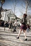 Glamourous woman Abesses place in Paris. PARIS - France - 14 April 2013 - glamourous woman Abesses place in Paris Stock Image