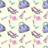 Glamourtillbehören, för bowlingtyp för blå gräsplan påsen, läppstift, doft, violetta lilor piskar pumps, rosa färgros vektor illustrationer