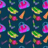 Glamourtillbehören som bowlar typpåsen, läppstift, doft, läderpumps, steg, ljusa neonrosa färger, gräsplan, guling färgar stock illustrationer