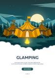 Glamping Располагаться лагерем очарования Лагерный костер Сосновый лес и скалистые горы Лагерь вечера бесплатная иллюстрация