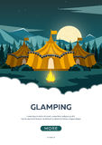 Glamping. Glamor camping. Campfire. Pine forest and rocky mountains. Evening Camp. Glamping. Glamor camping. Campfire. Pine forest and rocky mountains. Evening Stock Images