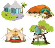 Glamping houses colorful set. Vector illustration. Collection of various comfortable huts tents treehouses in scenic view. Travel concept. Isolated on white Royalty Free Illustration