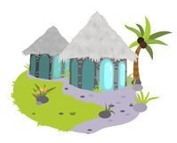 Glamping houses poster. Vector illustration. Small modern comfortable huts with windows situated on scenic view with palm tree green grass and pebbles. Travel Royalty Free Illustration