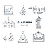 Glamping - ikona ustawiająca dla twój projekta Fotografia Royalty Free