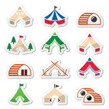 Glamping, luxurious camping tents and bambu houses icons set Royalty Free Stock Photos