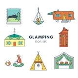 Glamping - symbolsuppsättning för ditt projekt royaltyfri illustrationer