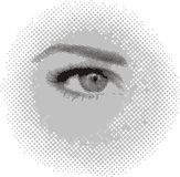 Glance. Gray abstract background with feminine eye Stock Photo