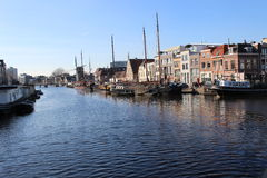 A glance along the waterfront of Leiden's harbor Royalty Free Stock Photos