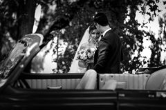 Glance of the bride with a bouquet next to the groom Royalty Free Stock Photography