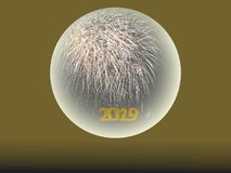 Happy New Year 2019 Fireworks in crystal ball royalty free stock photography