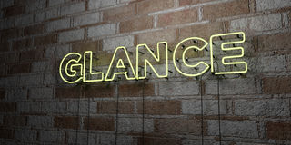 GLANCE - Glowing Neon Sign on stonework wall - 3D rendered royalty free stock illustration. Can be used for online banner ads and direct mailers Stock Image