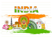 Glance of Indian Culture for Republic Day celebration. Glance of various Indian Cultures with tricolour text India on notebook paper background for Happy Stock Photo