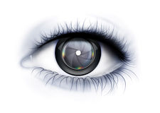 Glance Photographer. Eye close up with camera lens as iris Royalty Free Stock Images