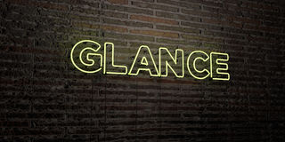 GLANCE -Realistic Neon Sign on Brick Wall background - 3D rendered royalty free stock image. Can be used for online banner ads and direct mailers Stock Images