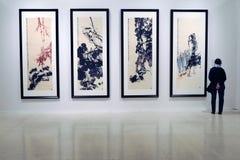 Glans av Uncarved jade Utställning i Moskva Arkivfoton