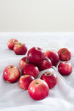 Glans heldere appelen op een wit tafelkleed Stock Foto's
