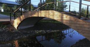 Glans van de zon op een houten brug stock footage