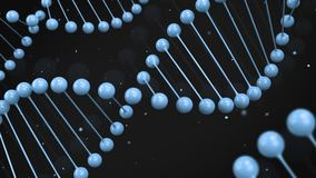 Glansblåttmodell av DNAtråden på svart bakgrund lager videofilmer