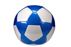 Glansig blå isolerad fotbollboll Royaltyfria Foton
